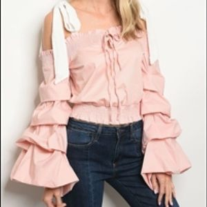 Pink & White Ruffle Cold Shoulder Blouse